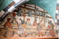 Details von Graffiti, Ritter im Mittag, mittelalterliche Szene gemalt Lizenzfreies Stockfoto