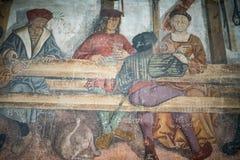 Details von Graffiti, Ritter im Mittag, mittelalterliche Szene gemalt Lizenzfreie Stockbilder