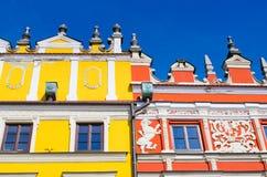 Details von Häusern in Zamosc, Polen Stockfoto