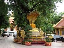 Details von schönen Künsten am buddhistischen Tempel Stockbild