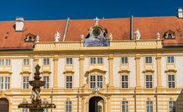 Details von Stift Melk, eine Benediktinerabtei in der Stadt von Melk in Österreich Lizenzfreies Stockbild