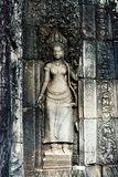 Details of a wall in an old temple in Angkor Wat. Apsara an old Khmer art carvings on the wall in Angkor Wat temple near Siem Reap town, Cambodia Stock Images