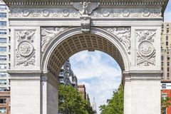 Details of Washington Square Arch in New York, USA stock photography