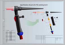 Details of welding torch. Specification of parts for TIG welding torch Royalty Free Stock Photography