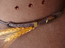Details on western hat. With wheat Royalty Free Stock Photography
