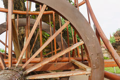 Details of the wheel buckboard Stock Photos