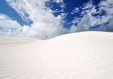 Details of white sand and clouds. Sand Dunes at Wedge Island Western Australia royalty free stock photo