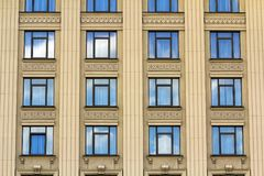 Details of windows of new constructed colorful multi-story build Royalty Free Stock Image