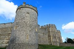 Tower and Battlements in Windsor. Details of Windsor Castle, in Windsor England, United Kingdom Stock Photos