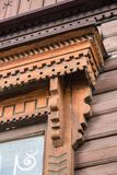 Details of wood carving of a window frame. Stock Photography