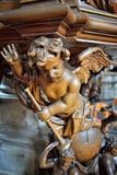 Details of wooden decor of pulpit in church Saint Walburga Royalty Free Stock Photos