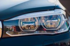 Detailschoonheid en snelle auto met koplamp royalty-vrije stock foto's