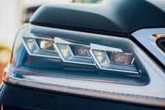 Detailschoonheid en snelle auto met koplamp royalty-vrije stock fotografie