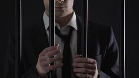 Detained billionaire waiting for court in prison, tax evasion, illegal business. Stock footage stock video