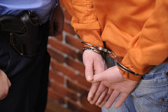 Detainee in handcuffs Royalty Free Stock Images