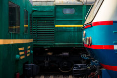 Detais of electrical locomotives head to head on the rails. Play Stock Photography
