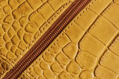 Detal of bag from genuine leather, metal zipper. Retail profile, manufacturing. Detal of bag from genuine leather, metal zipper close-up. Retail profile Stock Images