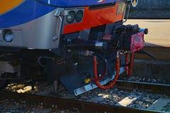 Detal linie kolejowe, tło Zdjęcia Stock