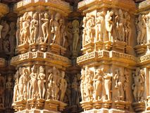 Detalha o templo em Khajuraho fotografia de stock royalty free
