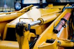 Detalhe amarelo da escavadora Fotografia de Stock Royalty Free