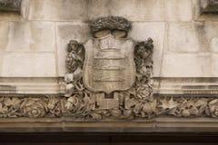 Detalhe arquitetónico da corte suprema Westminster, Parliament Square, Londres, Inglaterra, o 15 de julho fotografia de stock royalty free