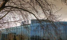 Detalhe arquitetónico do assento da construção de Louise-Weiss do Pa Fotos de Stock Royalty Free