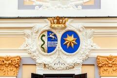 Detalhe arquitetónico do castelo Milotice do parque em Moravia, República Checa Construído entre 1719 e 1743 fotos de stock royalty free