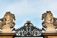 Detalhe arquitetónico do castelo Milotice do parque em Moravia, República Checa Construído entre 1719 e 1743 imagem de stock