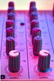 Detalhe audio do misturador Fotografia de Stock