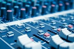 Detalhe audio do misturador Imagem de Stock