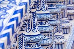 Detalhe azul da balaustrada de Plaza de Espana em Sevilha, a Andaluzia, Sp Fotografia de Stock