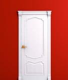 Detalhe branco de madeira do interior da casa da porta Fotos de Stock Royalty Free