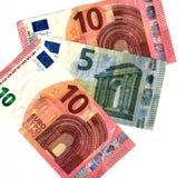 Detalhe cinco novos e euro dez Imagens de Stock Royalty Free