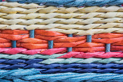 Detalhe colorido da cesta de vime Fotografia de Stock Royalty Free