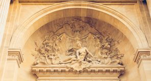 Detalhe da arquitetura da fachada do palácio da descoberta imagens de stock royalty free