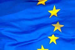 Detalhe da bandeira de ondulação da UE Fotos de Stock Royalty Free