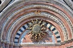 Detalhe da catedral de Siena fotografia de stock