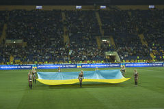 Detalhe da cerimónia antes do fósforo de futebol Imagens de Stock