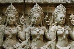 Detalhe da cinzeladura de pedra do khmer Fotografia de Stock