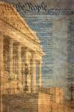 Detalhe da construção do Capitólio dos E.U. em Washington D C com declaração famosa imagens de stock royalty free