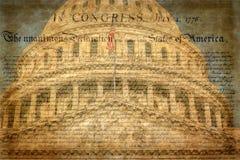 Detalhe da construção do Capitólio dos E.U. em Washington D C com declaração famosa foto de stock royalty free