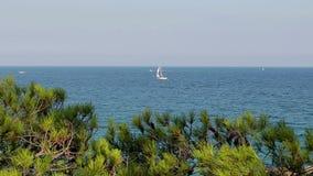 Detalhe da costa espanhola com um veleiro branco Costa Brava video estoque