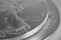 Detalhe da moeda de prata imagens de stock royalty free