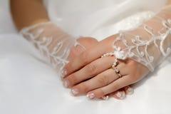 Detalhe da noiva do casamento Foto de Stock Royalty Free