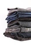 Detalhe da pilha das calças de brim Fotografia de Stock Royalty Free
