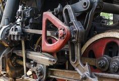 Detalhe da roda de uma locomotiva do trem do vapor Imagem de Stock