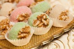 Detalhe da tabela doce no partido do casamento ou do evento Imagens de Stock Royalty Free