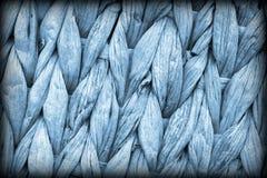 Detalhe da textura do Grunge de Mat Coarse Plaiting Rustic Vignetted do lugar da fibra da palma do azul de pó Imagens de Stock Royalty Free