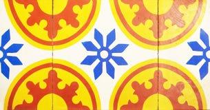 Detalhe das telhas tradicionais da fachada da casa velha Telhas decorativas Telhas tradicionais Valencian Teste padrão 08 Fotografia de Stock Royalty Free