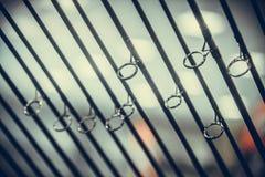 Detalhe das varas de pesca Fotografia de Stock Royalty Free
